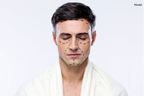 Man with closed eyes and marked with lines for plastic surgery-img-blog